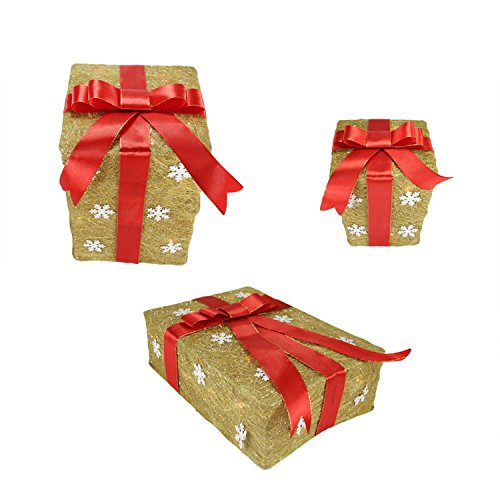 Set of 3 Gold Snowflake Sisal Gift Boxes Lighted Christmas Outdoor Decorations by Northlight