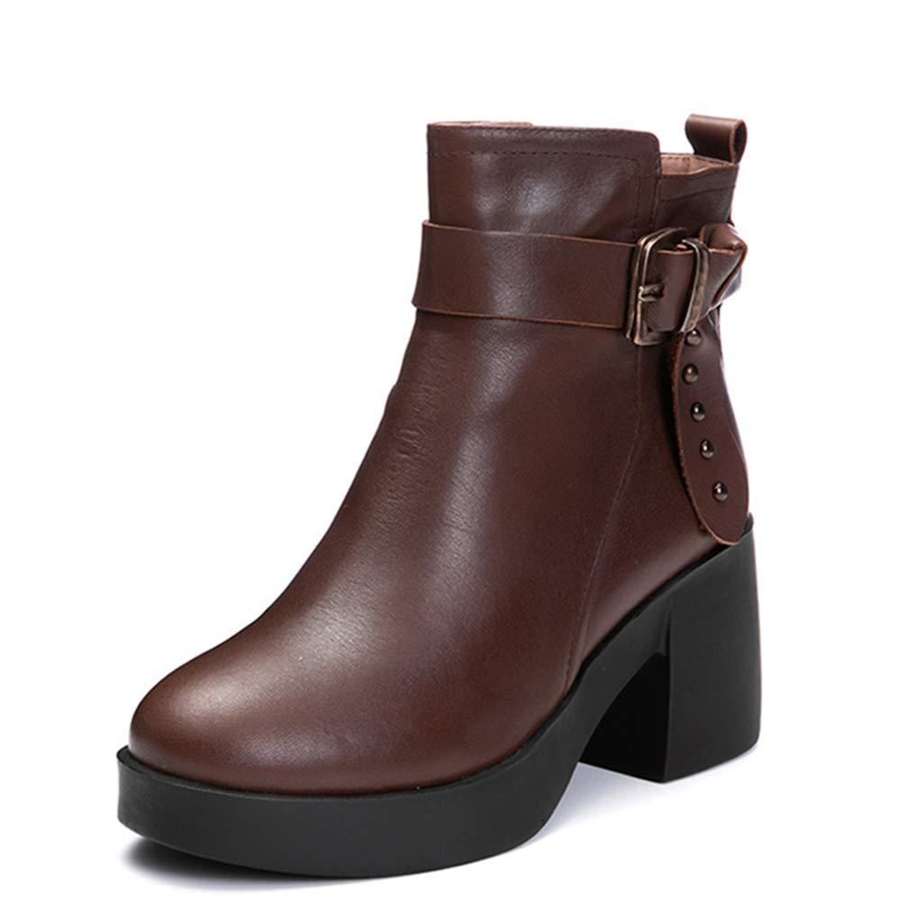 Damenstiefeletten, Herbst Winter Retro Retro Retro Leder Niet Mode Stiefel Damen High Heel Mittelrohr Martin Stiefel (Farbe   B, Größe   38) f404c5