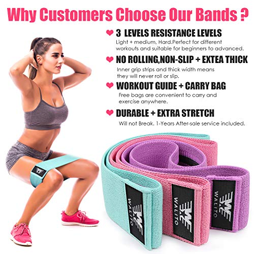 WOOSL Resistance Bands for Legs and Butt, Exercise Bands Hip Bands Wide Booty Bands Workout Bands Sports Fitness Bands Stretch Resistance Loops Band