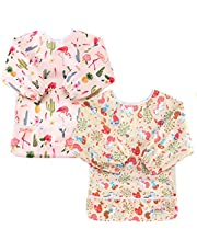 KIDSALON 2Pcs Toddler Baby Waterproof Sleeved Bib with Sleeves&Pocket,6-24 Months (style-02)