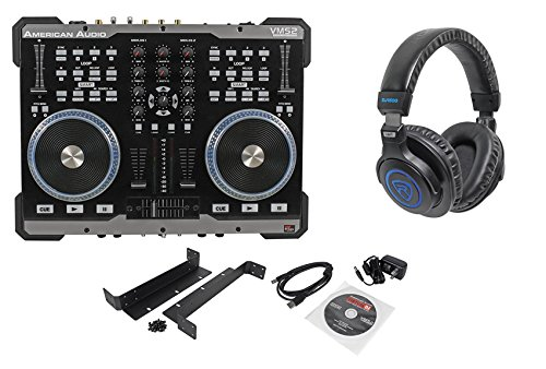 - Package: American Audio VMS2 USB MIDI DJ Controller With Built-In Soundcard Touch Scratch Wheel Virtual DJ LE software + American Audio HP550 Lava Red/Black Over-the-Ear High-Powered DJ Headphones