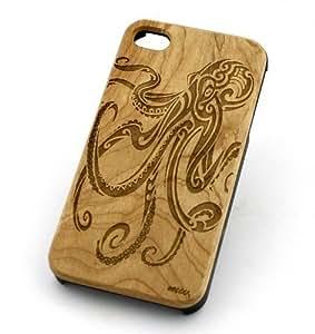 GENUINE WOOD Organic Snap On Case Cover for APPLE IPHONE 5 / 5S - OCTOPUS medusa squid sea ocean animals