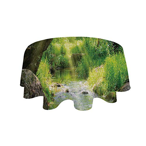 Cobblestone Cascade - YOLIYANA Forest Waterproof Round Tablecloth,Stream Cascade in Tropical Forest Among Trees Jungle Woodland Serene Landscape Decorative for Living Room,43.3