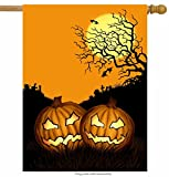 ShineSnow Seasonal Halloween Holiday Pumpkin House Flag 28″ x 40″ Double Sided, Polyester Scary Yellow Moon Bat Night Welcome Yard Garden Flag Banners for Patio Lawn Outdoor Home Decor Review