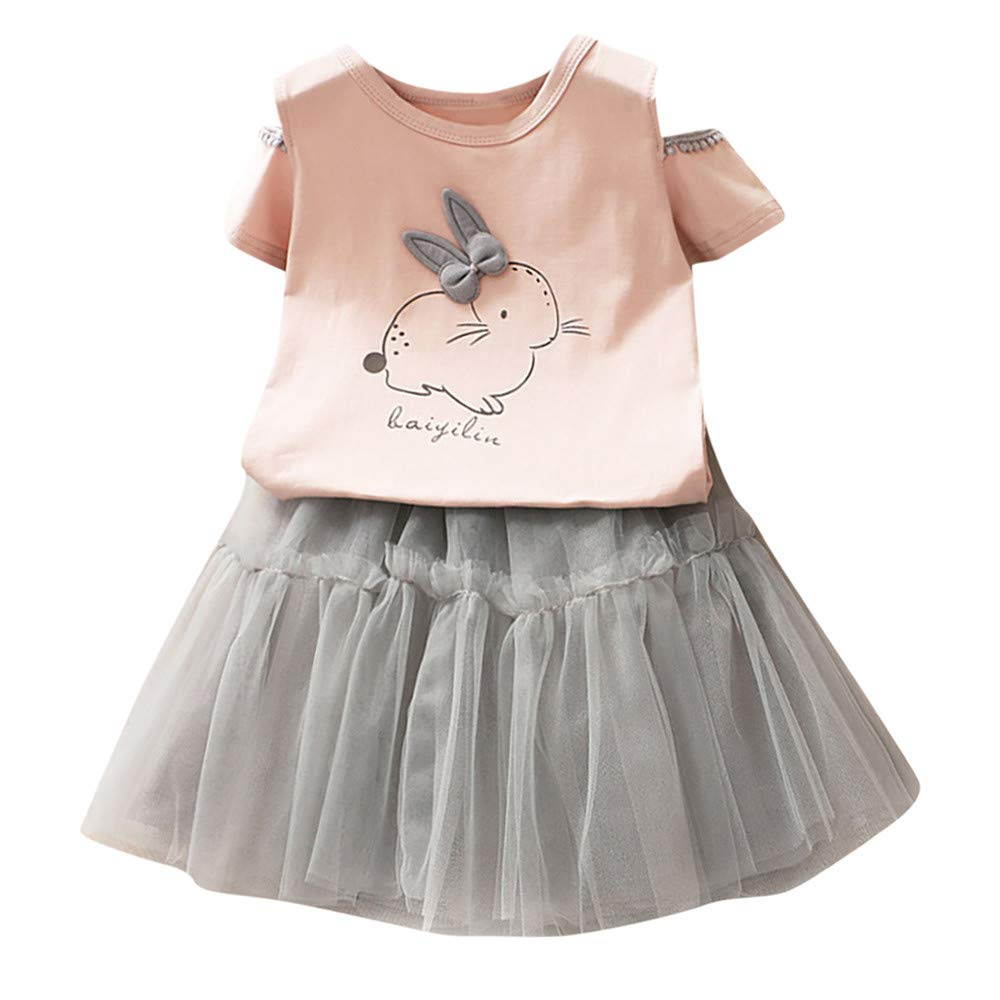 2PCS Kids Baby Girl Outfit Onesies Toddler Cartoon Bunny T-Shirt Tops Princess Tulle Dress Clothes Set Age:12M-6Years (12-24 Months (24M), Pink)