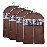 Garment Bags for Suits,Set of 4 Foldable Breathable Garment Cover for Dress, Coat,Jacket,Non Woven Clothes Protector Covers with Clear Window for Viewing,Brown Garment Storage Bag 42.5''x23.6''