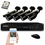 SANSCO CCTV Security Camera System with 4-Channel 1080N DVR, 4 Bullet Cameras (All HD 720p 1MP), and 1TB Internal Hard Drive Disk - All-in-One Wired Surveillance Cameras Kit