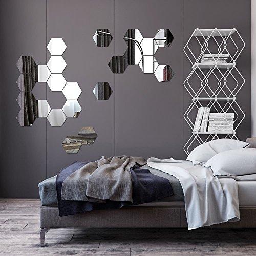 Regular Hexagon Honeycomb Decorative 3D Acrylic Mirror Wall Stickers Decor Living Room Bedroom Poster Home Decor Room Decoration R229 ()