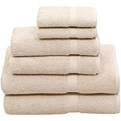 HomeLabels Premium 6 Piece Towel Set (Beige); 2 Bath Towels, 2 Hand Towels 2 Washcloths - Cotton - Hotel Quality, Super Soft Highly Absorbent