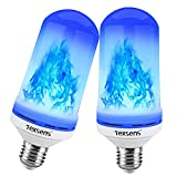 Texsens LED Blue Flame Effect Light Bulbs - 4 Modes Flickering Fire Flame with Upside-down Effect, Simulated Decorative Lights Vintage Flaming Lamp for Halloween/Christmas Decoration/Party/Bar- 2 Pack