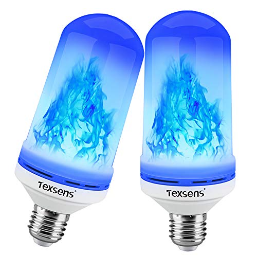 Texsens LED Blue Flame Effect Light Bulbs - 4 Modes Flickering Fire Flame with Upside-down Effect, Simulated Decorative Lights Vintage Flaming Lamp for Halloween/Christmas Decoration/Party/Bar- 2 Pack (Flame Christmas Lights)