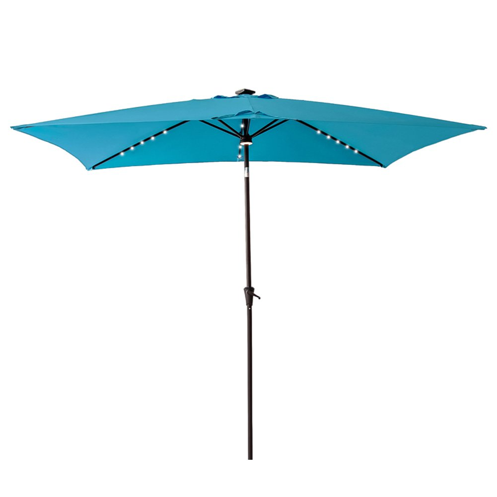 FLAME&SHADE Solar Power LED Light Outdoor Patio Market Umbrella 6'6'' x 10' Rectangular with Crank Lift, Push Button Tilt, Aqua Blue
