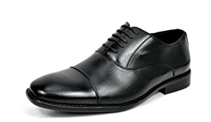 Bruno MARC DP06 Men's Formal Modern Leather Wing Tip Loafers Lace Up Classic Lined Oxford Dress Shoes BLACK SIZE 10.5