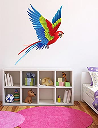 Scarlet macaw tropical bird wall decal 14
