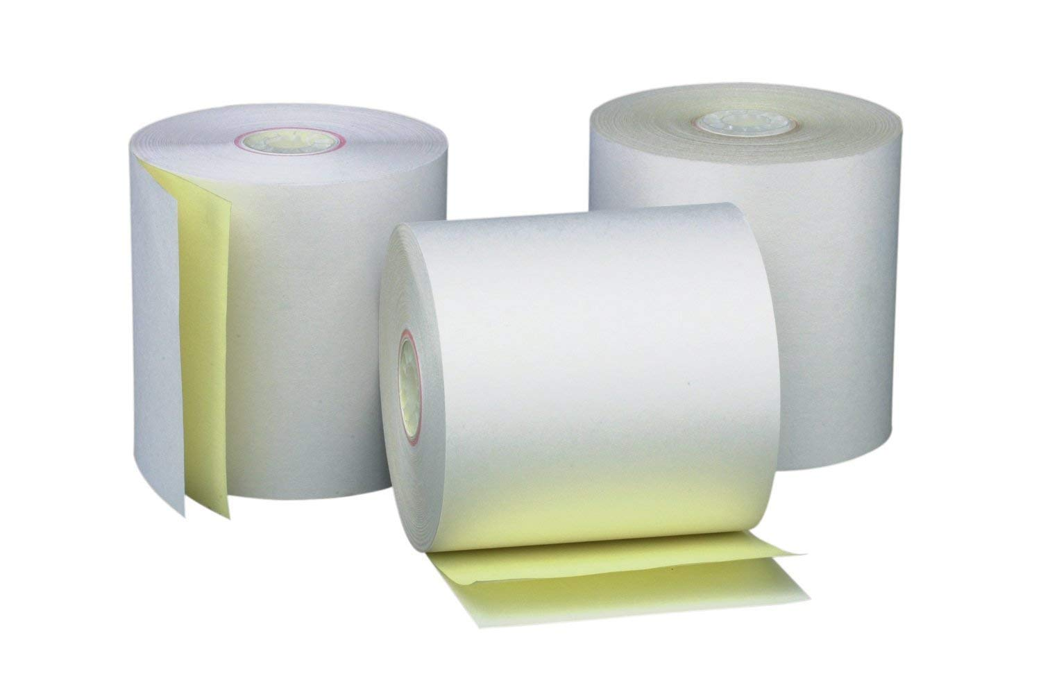 PM Company Perfection 2 Ply POS/Cash Register Rolls, 3 Inches X 90 Feet, White/Canary, 50 per Carton (07706) (2-Pack)
