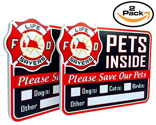 2-Pack Stylish Laser Cut Pet Safety Rescue Sign in Emergency Alert Warning Red Color | Made with Premium Sintra PVC | for Doors, Knockers and Bells | Ensures Pets are Rescued In Case of Fire