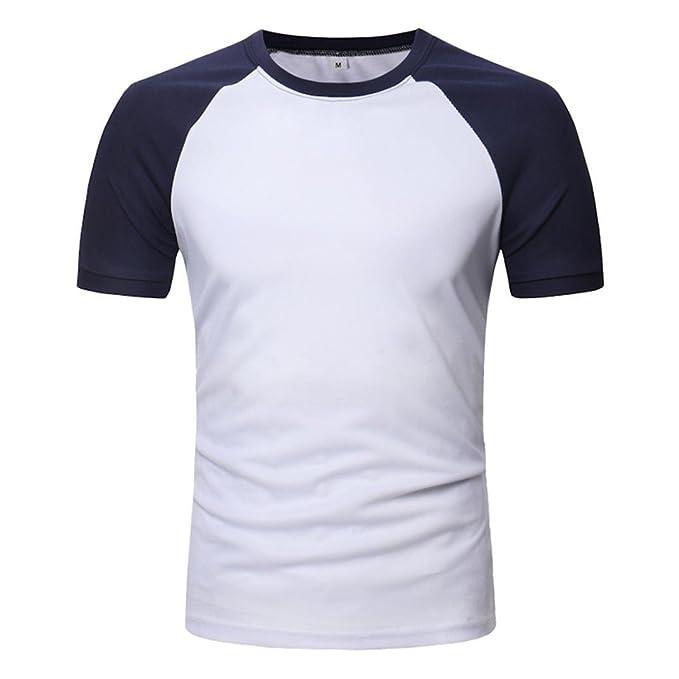 Camisas De Hombre Ronda Cuello Playa Ajustado O Cuello Manga Corta Músculo Camisetas Casual Camiseta Tops