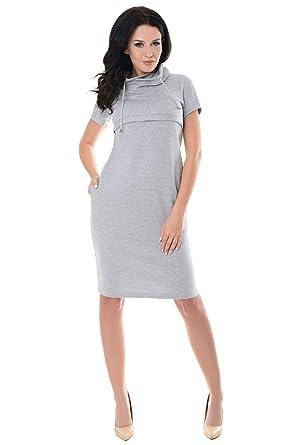 9aafe5cf1c297 Purpless Maternity Nursing Funnel Neck Dress 6225 (8, Light Gray Melange)