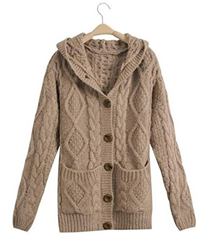 M_Eshop Women's Casual Cable Knit Button Hoodies Cardigan Sweaters Outerwear With Pockets (Khaki) (Knit Cable Sweater Hooded)
