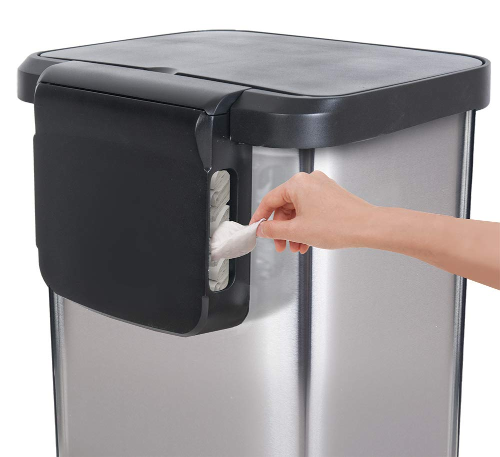 GLAD GLD-74506 Stainless Steel Step Trash Can with Clorox Odor Protection of The Lid   Fits Kitchen Pro 13 Gallon Waste Bags by Glad (Image #2)