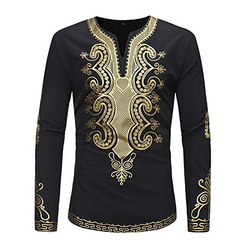 Hot Sale,WUAI Men's Luxury Shirts Long Sleeve V-neck Casual Pullover African Gold Print Fashion Tee Shirt(Black ,US Size 2XL = Tag 3XL)