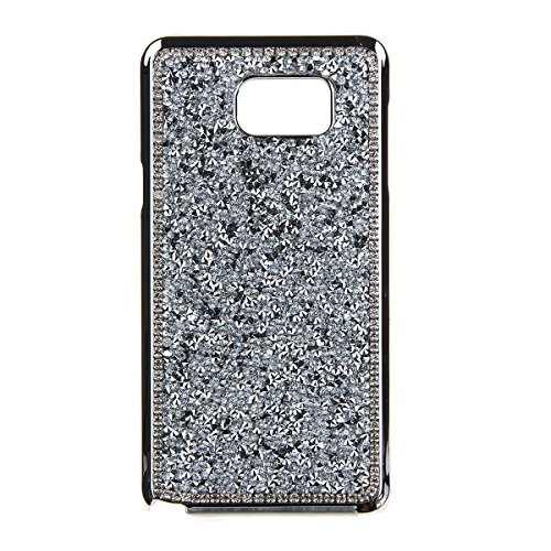 IKASEFU Glitter Case for Samsung Galaxy Note 5 ,Luxury Stud Rhinestone Bling Glitter Hard Back Case Cover for Samsung Galaxy Note 5-Silver
