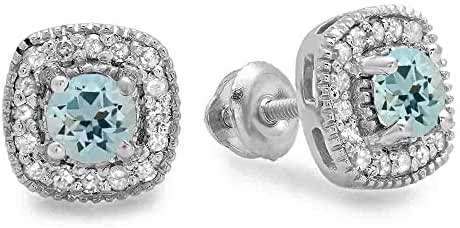 10K White Gold Ladies Halo Stud Earrings