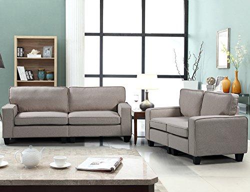 Harper&Bright Designs 2 Piece Sofa and Loveseat Set Living Room Sofa Set (Beige1)