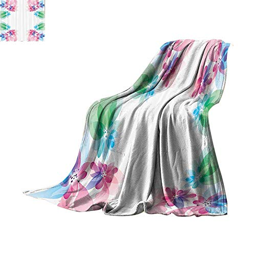 Luckyee Digital Printing Blanket Flower,Abstract Petals with Digital Hazy Reflections Bridal Buds Exquisite French Style Pattern,Multi Warm All Season Blanket for Bed or Couch 70