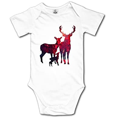 84c5eee42 Amazon.com: 21kingeh Deer Family1 Infant Baby Boys Girls Crawling Clothes  Short-Sleeve Onesie Romper Jumpsuit White: Clothing