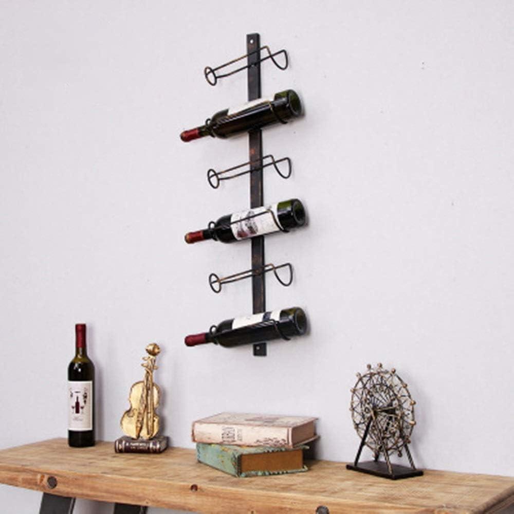 ワインホルダー 壁掛けワインラックヴィンテージメタルワイン棚壁ワイン棚壁掛けワインクーラークリエイティブ6階マグワインラックセットワインボルトホルダークリエイティブデコレーション(布:金属) インテリア ディスプレイ (Color : Black, Size : Free size)