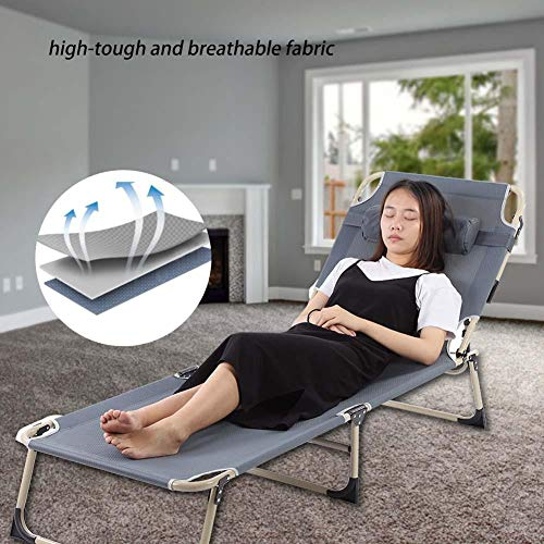 Portable Lounge Chair Chaise Bed Adjustable Reclining Positions Steel Frame Folding Cot with Removable Pillow for Outdoor Camping Beach Garden Patio Recliner Gray