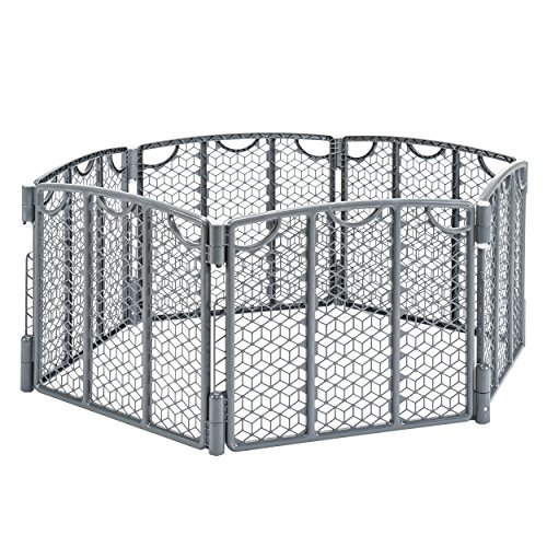 Evenflo Versatile Play Space, Indoor & Outdoor Play Space, Easy & Quick Assembly, Portable, 18.5 Square Feet of Enclosed Space, Durable Construction, For Children 6 to 24 Months, Cool Gray (Puppy Dog Pin)