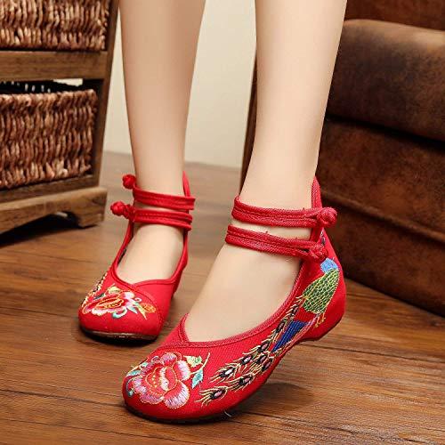 Tendon Tissu Taille Chaussures Mode Danse Fuxitoggo Féminin Ethnique Style Rouge Brodées De Semelle 41 En Confortable coloré qtdwd0a