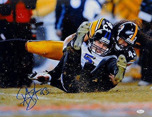 Troy Polamalu Signed Steelers 16x20 Tackling Flacco Photo- JSA Certified W (Troy Polamalu Hand Signed)
