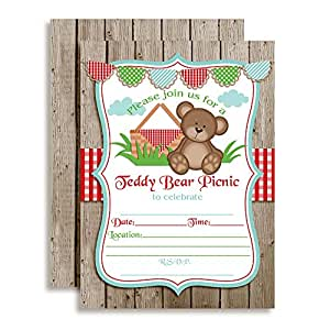 """Teddy Bear Picnic Birthday Party Invitations, Ten 5""""x7"""" Fill In Cards with 10 White Envelopes by AmandaCreation"""