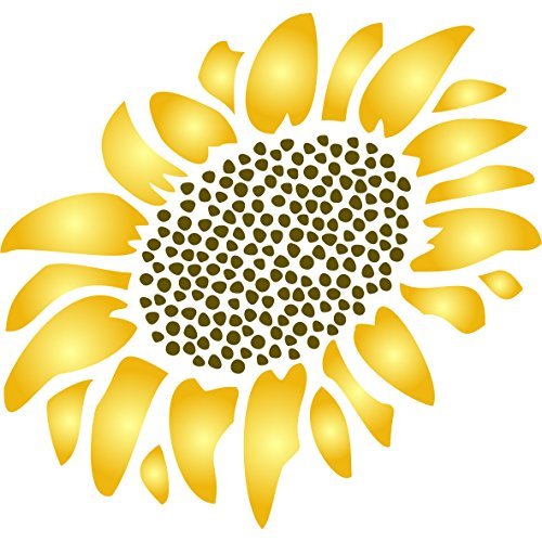 "Sunflower Wallpaper Cut Outs - Sunflower Stencil - (size 3.25""w x 4""h) Reusable Wall Stencils for Painting - Best Quality Wall Art Décor Ideas - Use on Walls, Floors, Fabrics, Glass, Wood, Terracotta, and More…"
