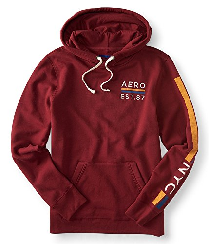 Aeropostale Fleece - Aeropostale Mens Embroidered Fleece Hoodie Sweatshirt Red M