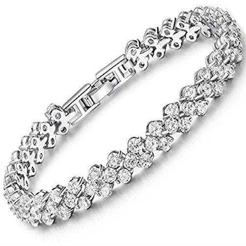 Ladies White Gold Plated Alloy Tennis Bracelet with Clear Zircons - S925 Wedding Jewelry Bangles - Very dainty and minimalistic in its look, it makes a bold statement of sheer elegance - Elegance Tennis Bracelets