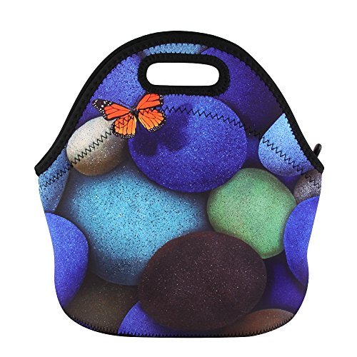 Insulated Neoprene Lunch Bag 3D Printing Waterproof Adults Tote Handbag Picnic Storage Bag Lunchbox Food Container Gourmet Tote for School Work Office ()