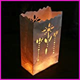 Fascola 20 Pack flower holder light H Luminaria Paper Lantern Candle Bag For Party Home Outdoor Wedding Decoration