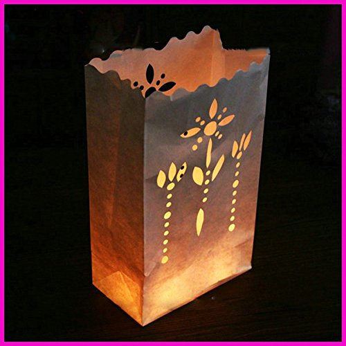 Fascola 20 Pack flower holder light H Luminaria Paper Lantern Candle Bag For Party Home Outdoor Wedding Decoration by Fascola