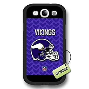 Personalize NFL Minnesota Vikings Logo Frosted Black Samsung Galaxy S3(i9300) Case Cover - Black