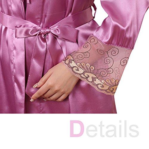 Dolamen Camisón para mujer con Vestido Kimono Satén, 2-in-1 Mujer Camisones raso Pijamas, Bordado de lujo y de la flor atractiva Satén Neglige Lencería Ropa de Dormir Púrpura