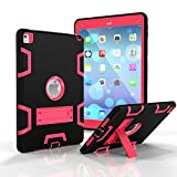 Onway Stylish Silicone Rubber PC Hybrid Shock Proof Bumper Built-in Kickatand Back Cover Case For iPad Air 2 9.7 Inth Pink