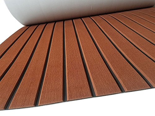 SOOMJ Eva Synthetic Teak Deck Mat, EVA Foam Faux Teak Non-Slip Marine Flooring Mat, Boat Yacht Flooring Synthetic Teak Decking Pad(Brown Black Lines) - Foam Back Boat Vinyl
