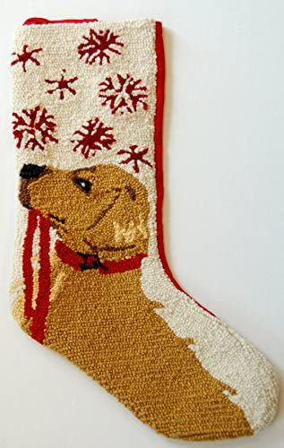 "13/"" x 21/"" Golden Retriever Snowflake Leash Hooked Wool  Christmas Stocking"