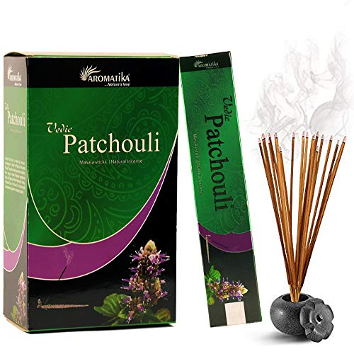 Aromatika Vedic Patchouli Natural Masala Incense Sticks Pack of 180 gm (15 gm x 12 Box) | Hand Rolled in India | Best for Meditation,Yoga,Aroma Therapy, Relaxation, Reiki