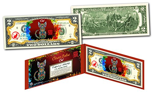 YEAR of the CAT - Chinese Zodiac Official $2 U.S. Bill RED POLYCHROME Edition