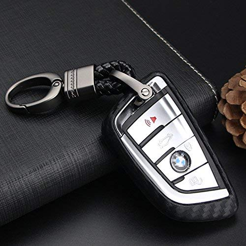 S-WEKA CARBON FIBER STYLE Black Carbon Fiber Texture Car Key Case Cover Holder Pouch Remote Key Chains Key Bag Fit For BMW keyless remote control Smart Key Fob Holder 1//2//3//4//5//6//M//X SERIES X3 X